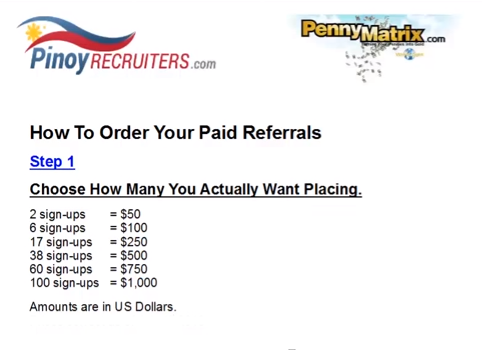 Penny Matrix Paid Sign Ups Chart